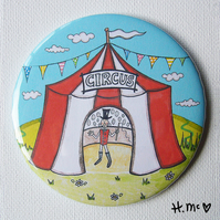 Large Circus Themed 7.5cm Pocket Mirror