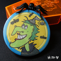 Large Halloween 7.5cm Witch Pocket Mirror