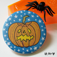 Large Halloween 7.5cm Pumpkin Pocket Mirror