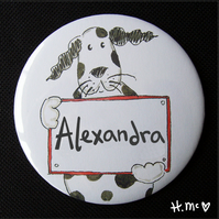 Personalised Dog Large 7.5cm Pocket Mirror