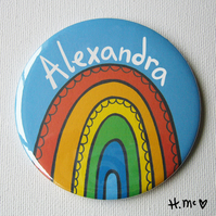 Large Personalised Rainbow 7.5cm Pocket Mirror