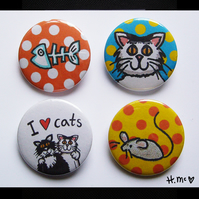 Cat Badges ( Pack of 4 ) 2.5cm in diameter