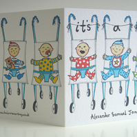 Personalised It's a Boy, New Arrival Card