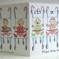 Personalised It's a Girl, New Arrival Card