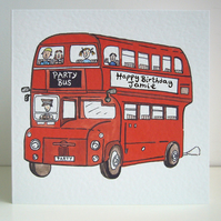 Personalised Big Red Double Decker London Bus any occasion Greetings Card
