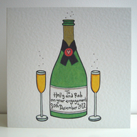 Champagne and Glasses Celebration Card ( Personalised )