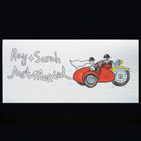 Just Married Motorbike and Sidecar Card ( Personalised )