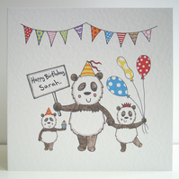 Personalised Panda Birthday Card.