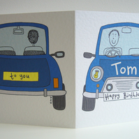 Personalised Birthday Car Card.
