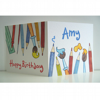 Personalised Birthday Card with pencils
