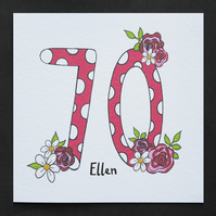 Floral Number Birthday Card. Any age. ( Personalised )