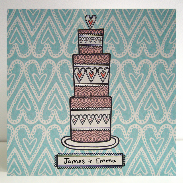Personalised Wedding Cake Card