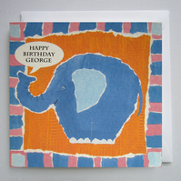 Elephant Birthday Card ( Personalised )