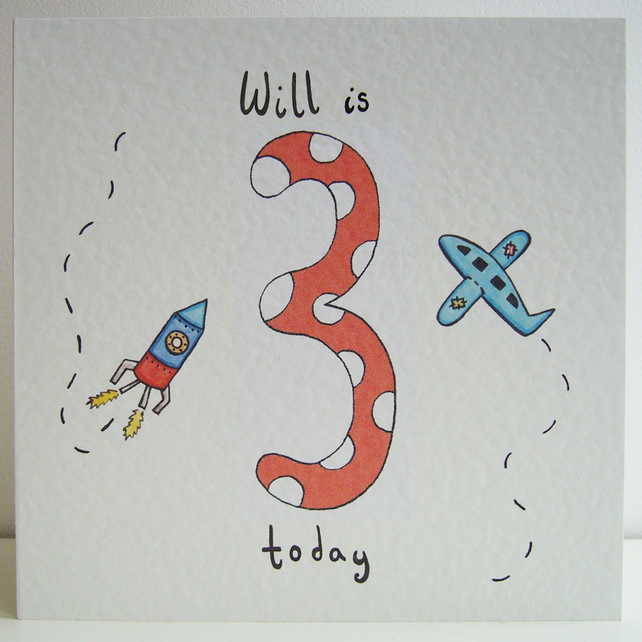 Rocket and Plane Third Birthday Card  ( Personalised )