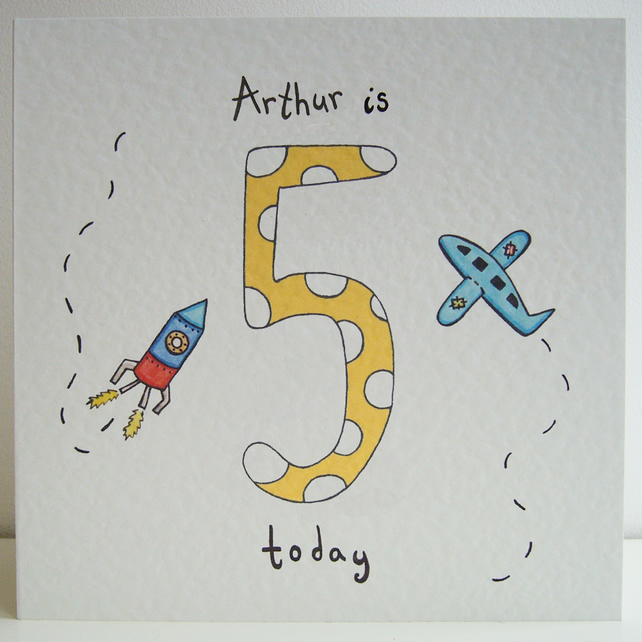 Rocket and Plane Fifth Birthday Card  ( Personalised )