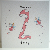 Fairy Girl's Second Birthday Card ( Personalised )