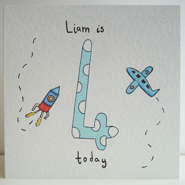 Rocket and Plane Fourth Birthday Card  ( Personalised )