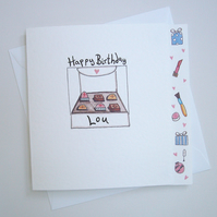 Box of Chocolates Birthday or any Occasion Card ( Personalised )