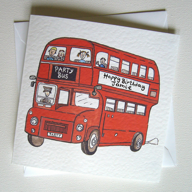 Personalised Big Red Double Decker Bus any occasion Greetings Card