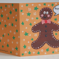 Personalised Gingerbread Man Christmas Card.