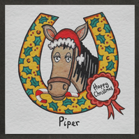 Personalised Horse Christmas Card.