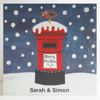 Personalised Postbox and Robin Christmas Card