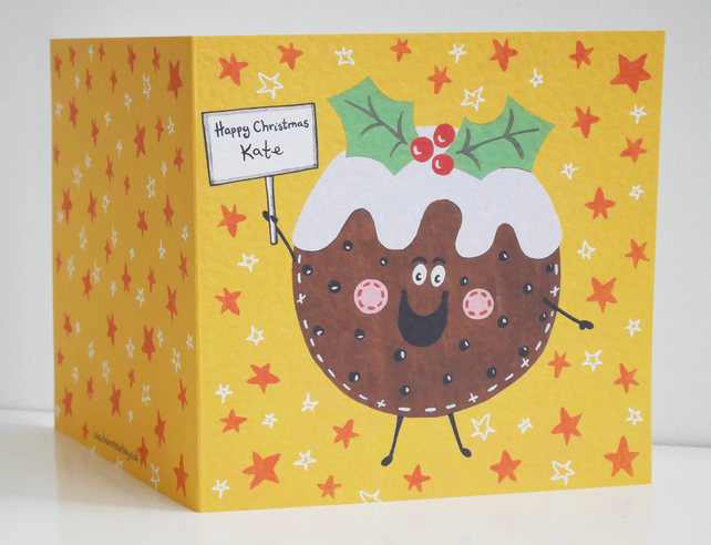 Personalised Christmas Pudding Card.