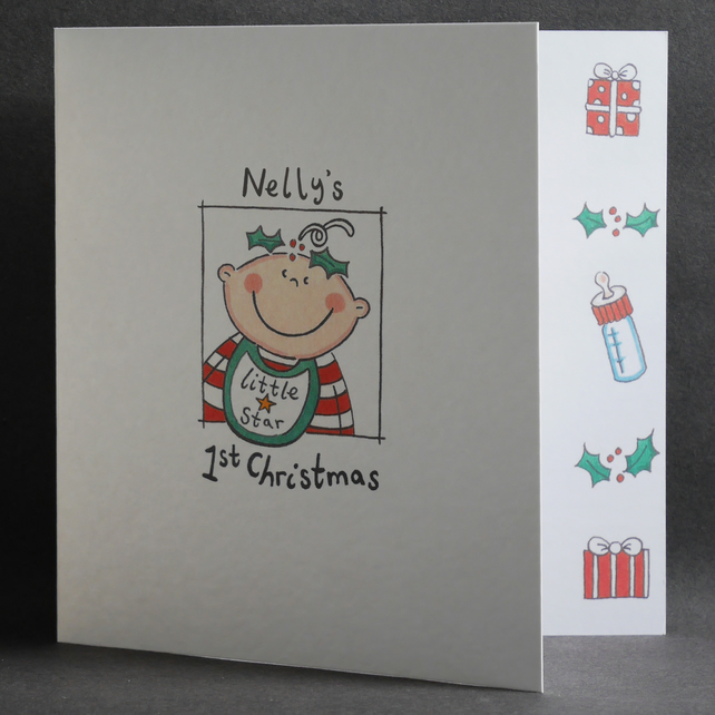Personalised Baby's First Christmas Card - Holly Head