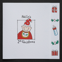 Personalised Baby's First Christmas Card - Santa Hat