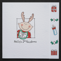 Personalised Baby's First Christmas Card - Antlers