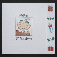 Personalised Baby's First Christmas Card - Christmas Pudding