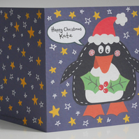 Personalised Penguin Christmas Card.