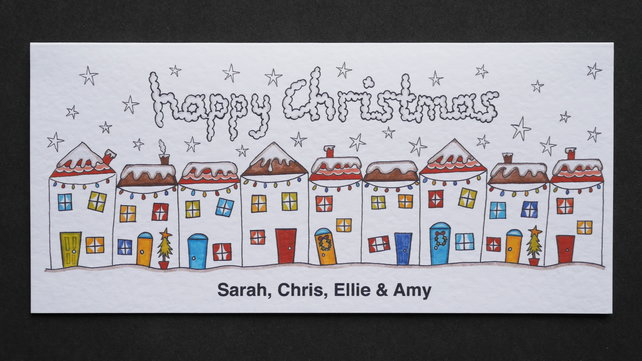 Personalised Christmas Street Scene Card.