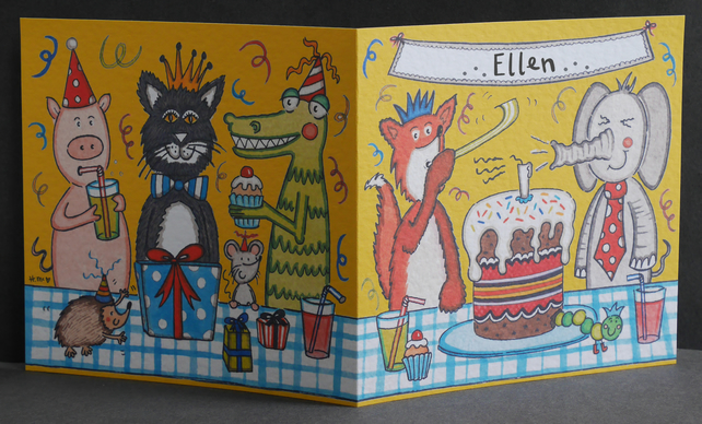 Personalised Animal Party Birthday Card.