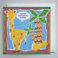 Giraffe Birthday Card ( Personalised )