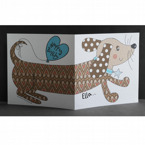 Personalised Sausage Dog Dachshund Card.