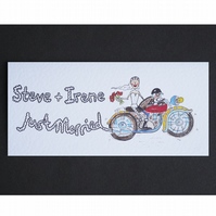 Just Married Motorbike Card ( Personalised )