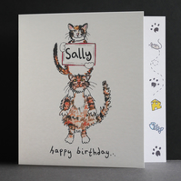 Cat Birthday Card ( Personalised )