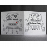 Personalised Wedding Card ( Wedding Car ). Black outline only.