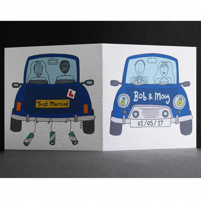 Personalised Wedding Card ( Wedding Car ). Full colour car.