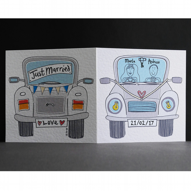 Personalised Wedding Card ( Wedding Car ). Grey Wedding Car Card.