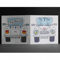 Personalised Wedding Card ( Wedding Car ). White Wedding Car Card.