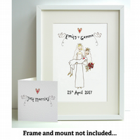 Unframed Personalised A4 Wedding 2 Brides Print with coordinating card.
