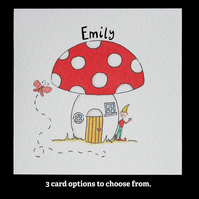 Toadstool and Elf Birthday or any other occasion Card ( Personalised )