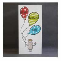 Personalised Hippo Birthday Card.