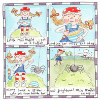 Little Miss Muffet Children's Nursery Rhyme Picture.