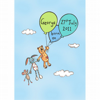 Personalised A4 Boy's Nursery or Bedroom Picture (Unframed).