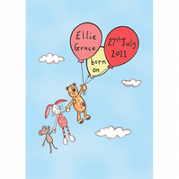 Personalised A4 Girl's Nursery or Bedroom Picture (Unframed).
