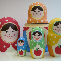 Apple Rainbow Russian Dolls ( can be personalised ).