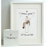 Unframed Personalised A4 Wedding Bride and Groom Print with coordinating card.